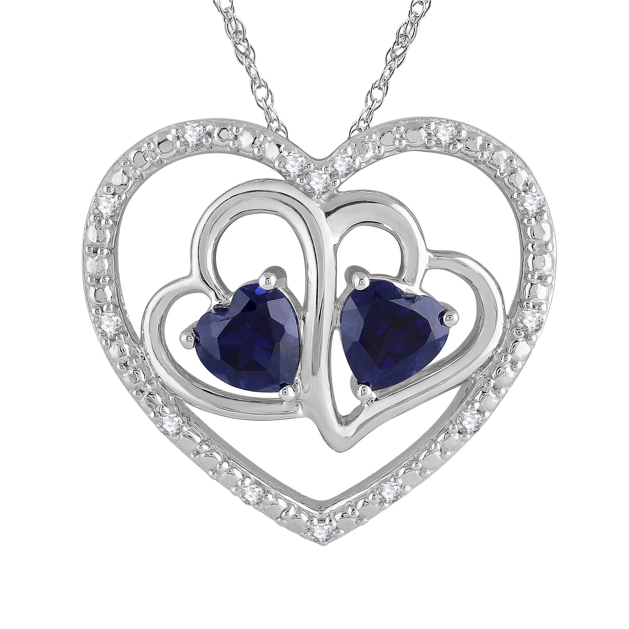 Heart 2 Heart Created Blue Sapphire and 1 10 Carat T.W. Diamond Sterling Silver Pendant with Chain by TARA JEWELS LTD