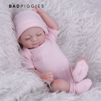 "BadPiggies 11"" Newborn Reborn Baby Doll Non-toxic Realistic Lifelike Realike Sweet Dream Shower Toy Silicone Vinyl Handmade Kid Pretend Role Play Toy Weighted Alive Doll with Clothes"