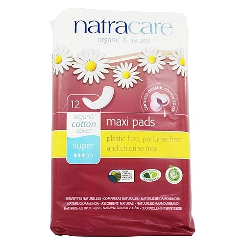 Natracare Natural Organic Maxi Pads, Super, 12 Ct