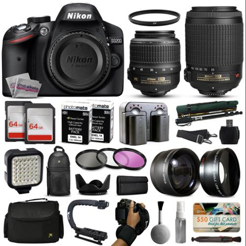 Nikon D3200 DSLR Digital Camera with 18-55mm VR + 55-200mm VR Lens + 128GB Memory + 2 Batteries + Charger + LED Video Light + Backpack + Case + Filters + Auxiliary Lenses + $50 Gift Card + More!