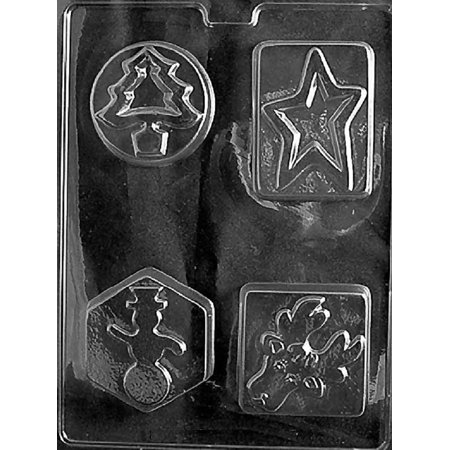 Grandmama's Goodies C437 4 Shapes Christmas Tree Star Snowman Reindeer Soap Chocolate Candy Soap Mold with Exclusive Molding - Christmas Goodies Ideas