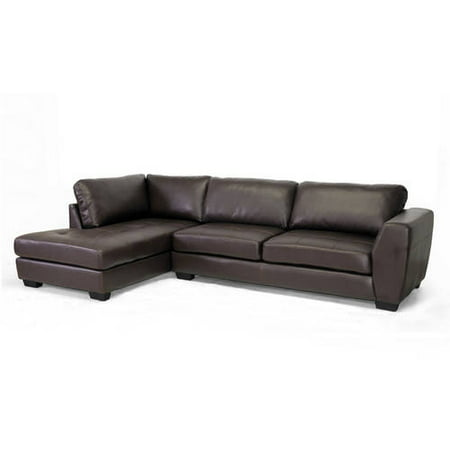 Baxton Studio Orland Brown Leather Modern Sectional Sofa