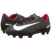 Nike JR MERCURIAL VORTEX III FG Kids Black Grey Soccer Cleats Shoes