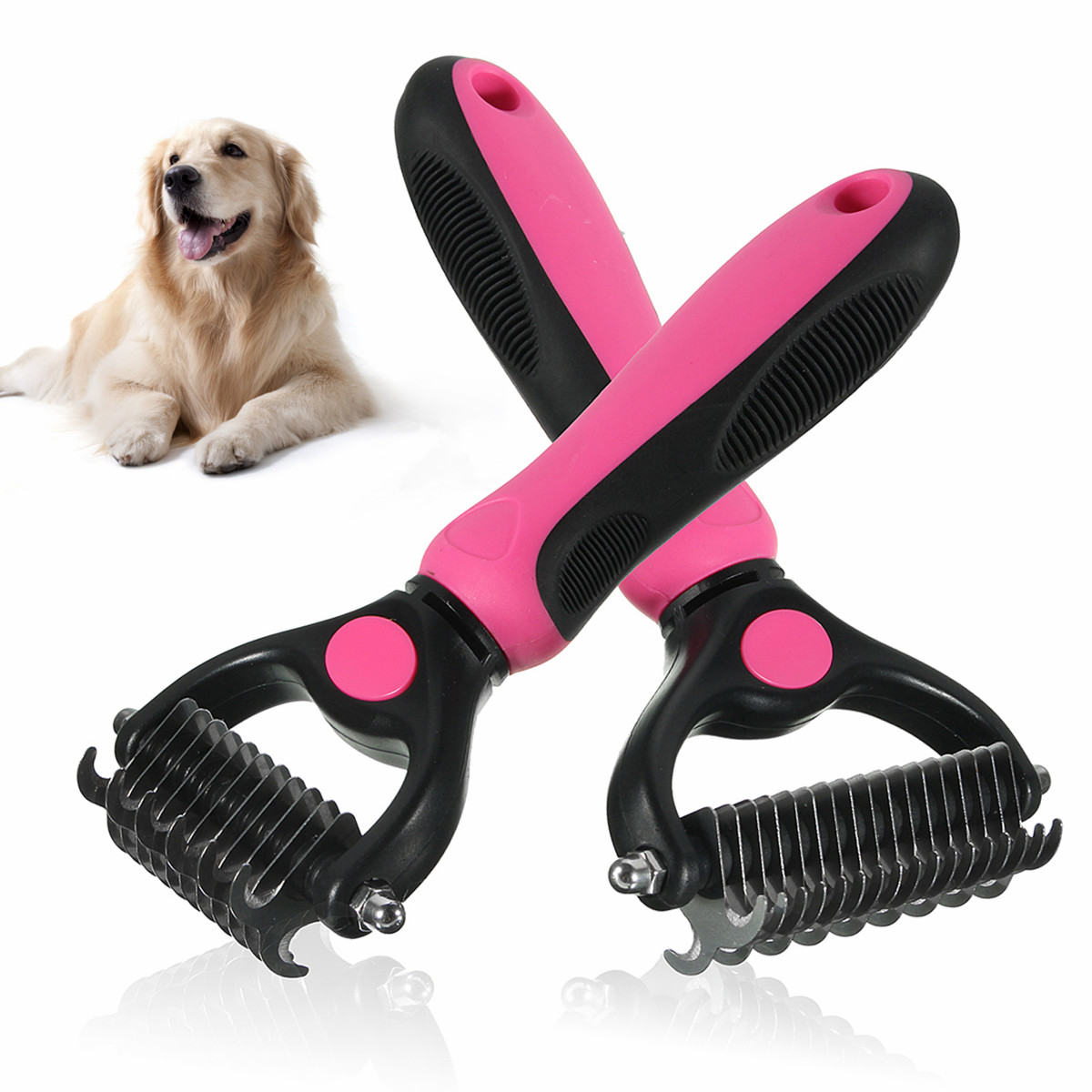 Pet Dog Cat Grooming Self Cleaning Slicker Professional Brush Comb Hair Fur Shedding Tool Size:S/L