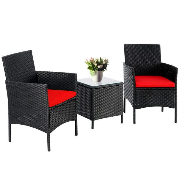 Suncrown 3 Piece Patio Outdoor Bistro, Black Wicker Furniture Outdoor