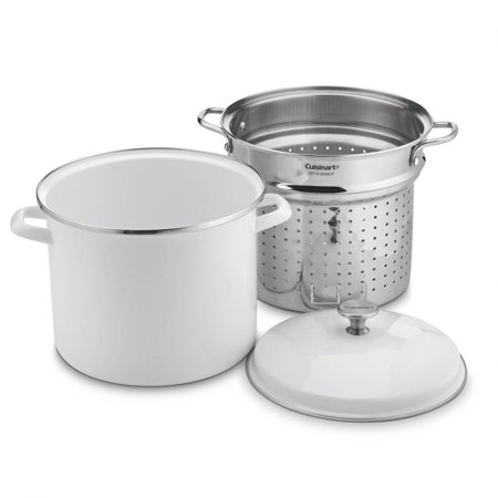 - Cuisinart 12 Quart Stockpot with Steamer Insert and Cover, White