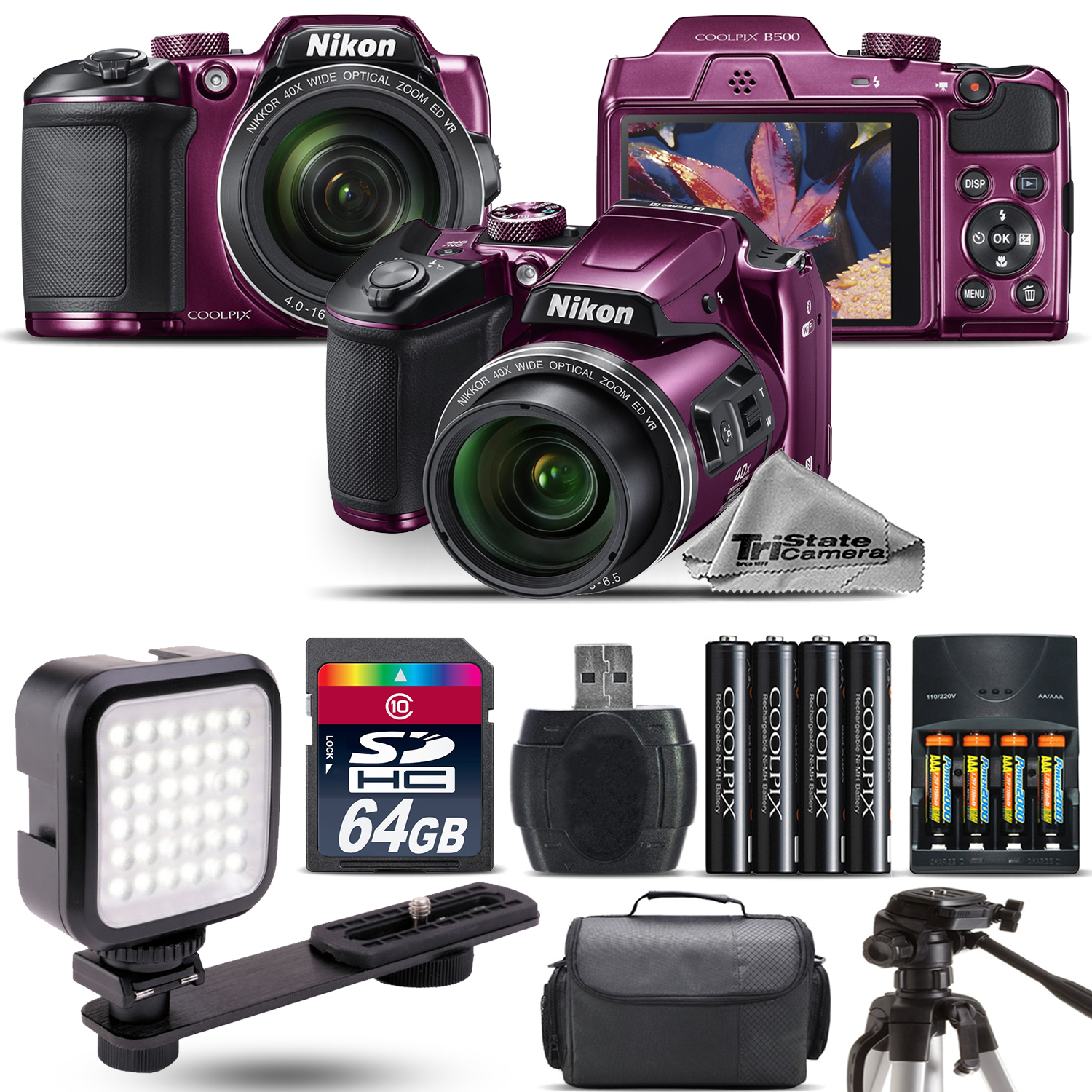 Nikon COOLPIX B500 Plum Camera 40x Optical Zoom + LED + Case - 64GB Kit Bundle
