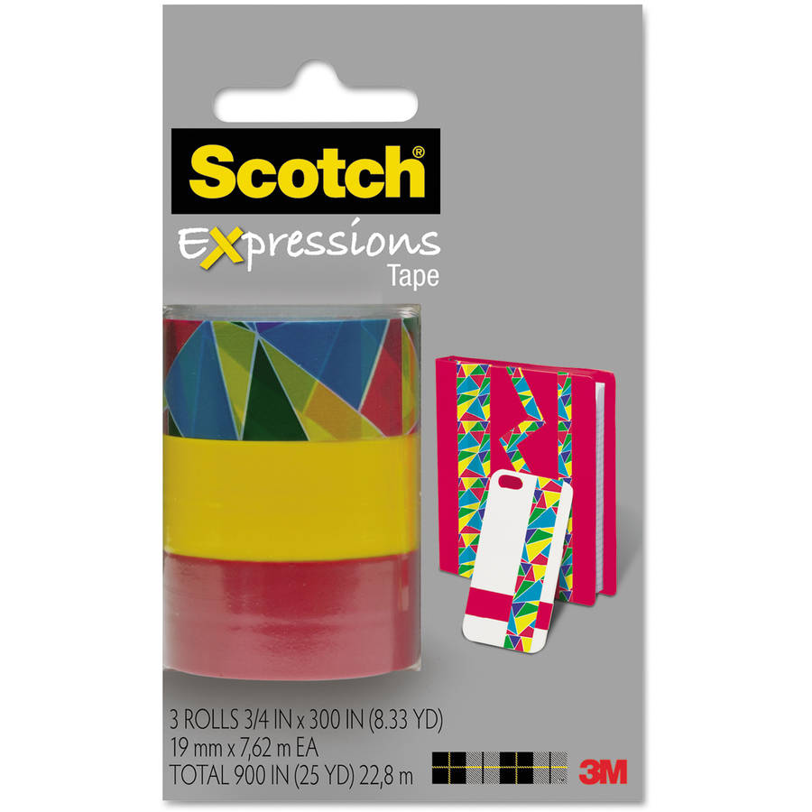"Scotch Expressions Magic Tape, 3/4"" x 300"", Assorted Stained Glass, 3 Pack"