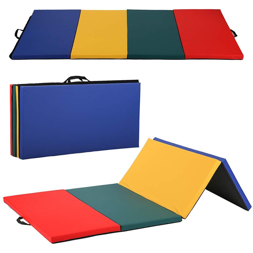 "Gymnastics Mat Exercise Folding Panel Gymnastics Mat Gym Fitness Exercise Mat 4'x8'x2"" Thick Mixed Color"