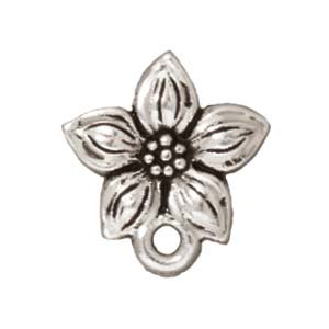 Silver Plated Pewter Stud Post Earrings Star Jasmine 13mm (1 Pair)