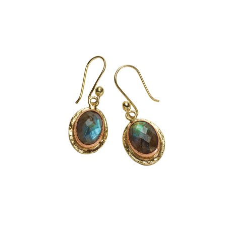 Floriana Women's Faceted Labradorite Gemstone Earrings - Copper Settings & Brass - Faceted Gem Setting Outfit