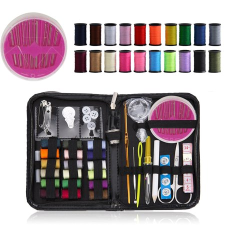 FeelGlad  58-in-1 DIY Premium Sewing Supplies Kit, Zipper Portable Complete Mini Sew Kit for Adults, Beginner, Emergency - Diversified Mending Supplies and Sewing Accessories Be it a scissor, threads (18 colors), assortment of sewing needles, shirt buttons, seam ripper, thimble, needle threader tools and a foldable tape ect.Perfect Sewing Set: 58 High quality DIY sewing machine kits is a must have.It's complete with all the necessary tools you will need in sewing and repairing.Necessary Thing In Daily Life: We have made sure to include all the essentials you could ever need. It will be good helper to solve problem in daily life.Necessary Sew Kit Relax To Carry: With a secure-lock zipper, all the sewing accessories are compact and organized without loosing down.The fashion sewing kit is light weight and convenient to carry and store. Their ideal size can slip into a suitcase, briefcase, office desk drawer, car ect.Easy To Sew And Simple To Apply: Don't need machine to use.These best compact sewing kit that is always available and easy to access for any quick, emergency mends or daily sewing.You can go repairs great for the missing buttons, ripped seams, or a quick hem make etc. Perfect for everyone.Completely Satisfied Customer Service: The professional material insure the quality of item. Please contact our Customer Service or send email to our company's mailbox, we will give you a satisfied solution in 24 hours.Item Name: Sewing Kit; Main Material: PU Leather, Plastic, Stainless Steel; Main Color: Black, Silver, White; PU Leather Bag Size (Fold): 17 x 11 x 2.5cm / 6.69  x 4.33  x 0.98 (L * W * T); Weight: 160g / 5.64oz;Package Include: 16 x sewing pins, 18 x Spools of Thread, 24 x Other Accessories(Scissor, Button, Pencil, And so on).