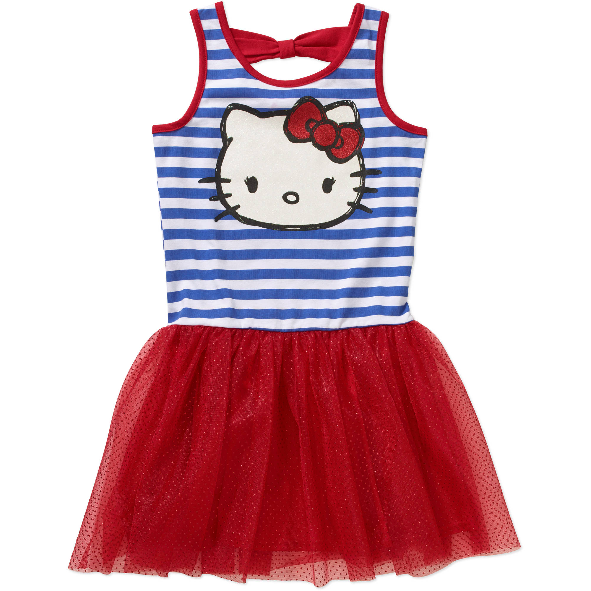 Hello Kitty Girls' Americana Striped Bow Back Tutu Dress