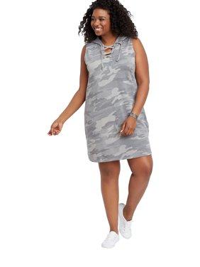 Plus Size Camo Hooded Sweatshirt Dress