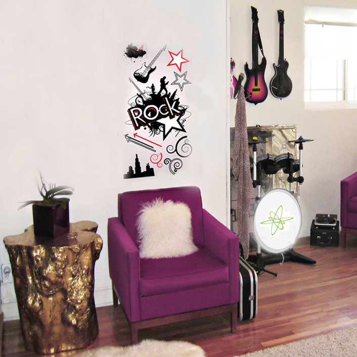 Rock Star Wall Decals Guitar City Skyline Removable Reusable Peel Stick Art Red