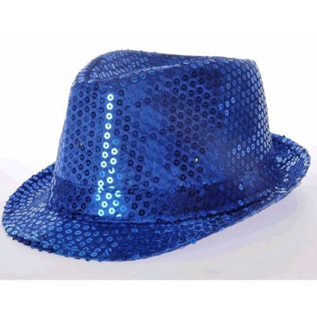 LED Flashing Fedora Hat with Blue Sequins - Sequin Fedora
