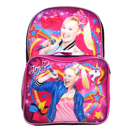 "Girls Jojo Siwa Large Backpack 16"" w/ Detachable Lunch Bag Pink"