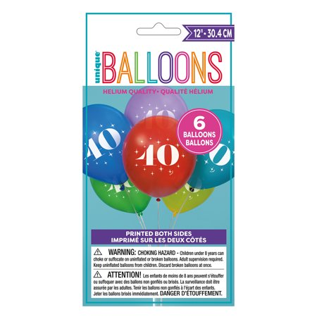12' Assorted Number (Latex Milestone Number 40 Balloons, Assorted, 12 in, 6ct)
