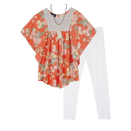 Girl's Two-Piece Floral Top and Pants Set