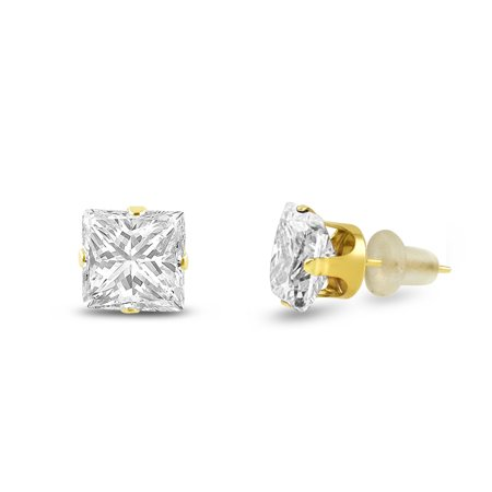 10x10mm Square Princess Cut White CZ Solid 10K Yellow Gold 4-Prong Set Stud - Princess Tension Set Earrings