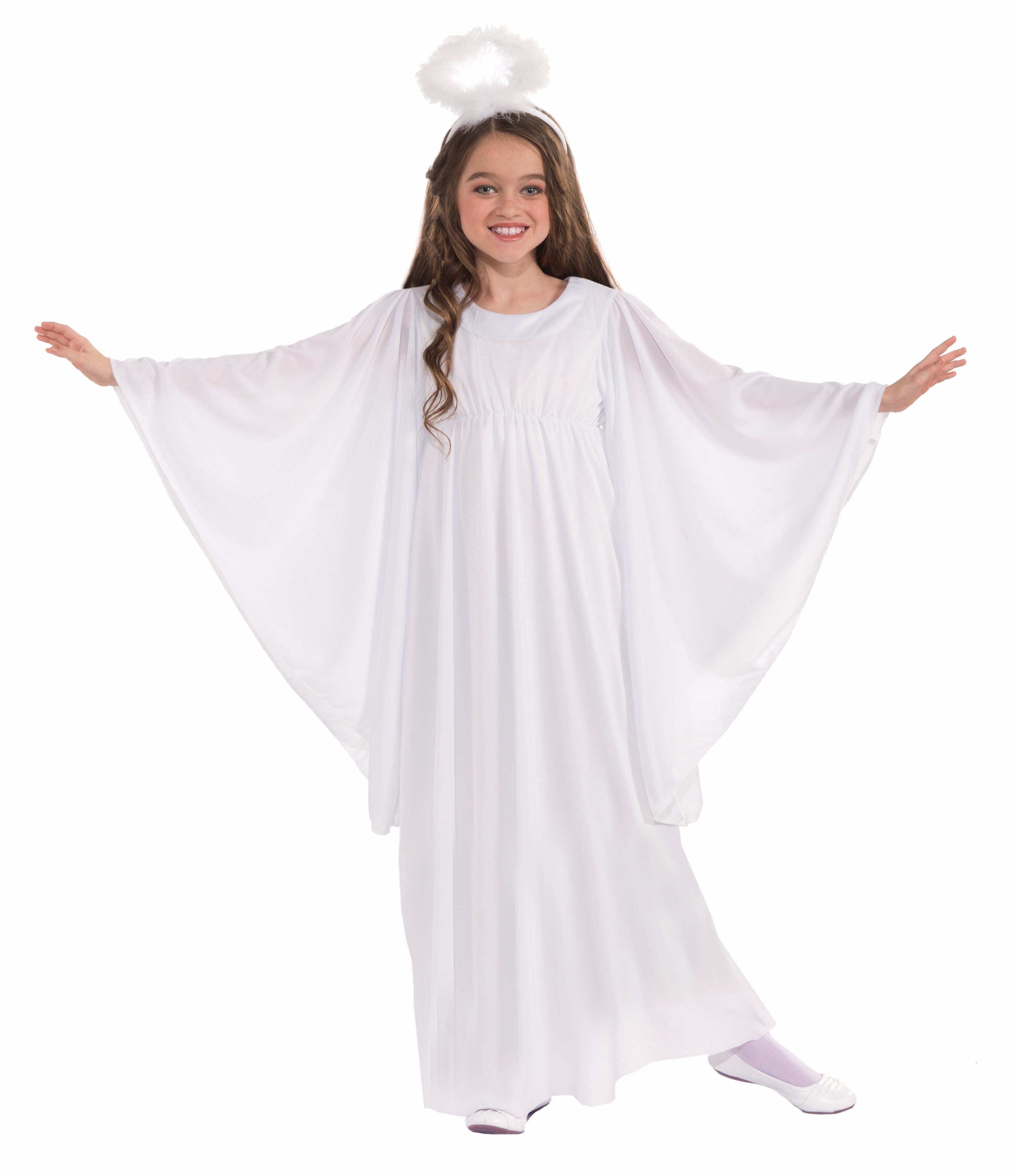 Deluxe Child White Angel Costume Fancy Dress Gown Halo Christmas ...