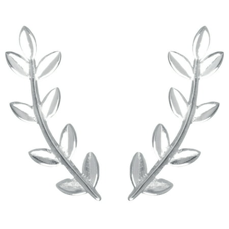 Sterling Silver Rhodium and Polished Leaf Ear Climber Earrings