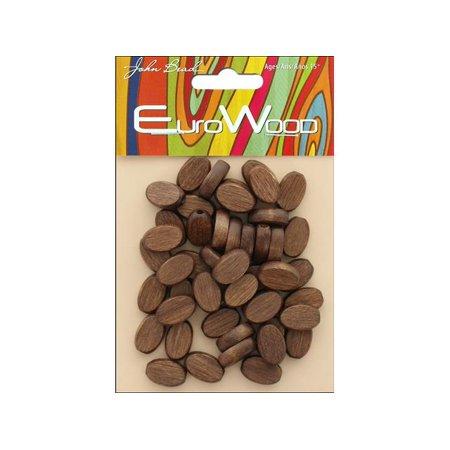 John Bead Wood Beads Flat Oval 10x15mm Dark Brown