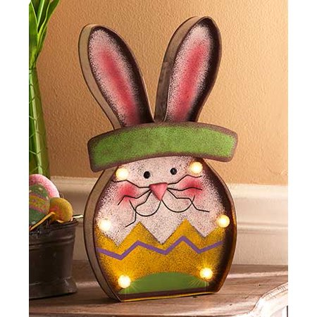 Easter Bunny Decor Collection Shelf Sitter Lighted Metal Wall Home LIGHTED METAL BUNNY