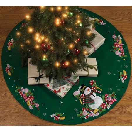 bucilla felt tree skirt applique kit 43 round candy snowman - Walmart Christmas Tree Skirts
