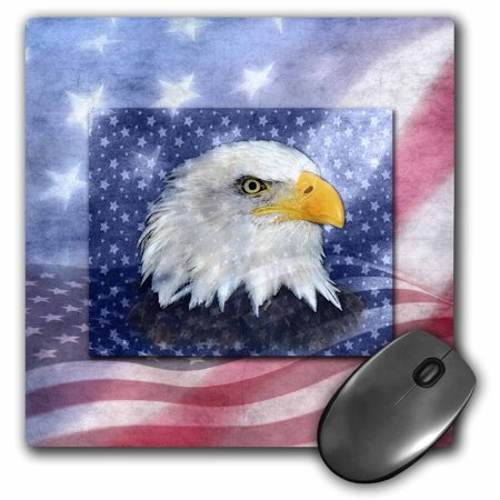 3dRose U.S. Flag and American Eagle, Mouse Pad, 8 by 8 inches