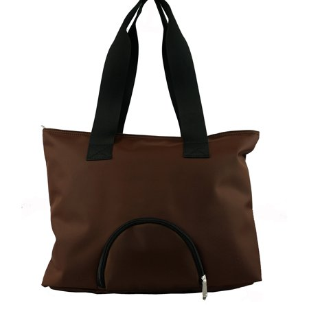 Woman Tote Bag Large Microfiber Handbag Shoulder Bag Messenger Bag With Front Round Pocket, Brown