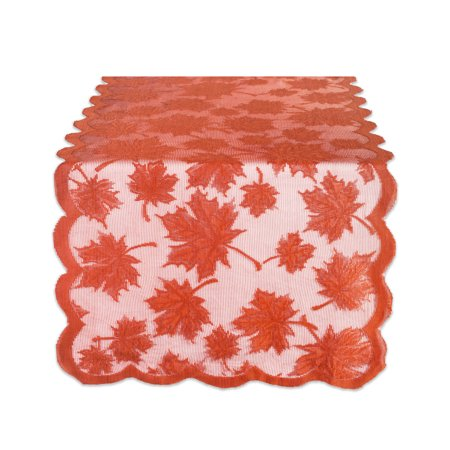 Design Imports Lace Maple Leaf Table Runner - Spice - 18 X -