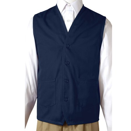 Garnet Button - Ed Garments Button Down Front Pockets Apron Vest, NAVY, Medium