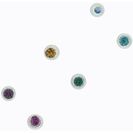 22G Crystal Bioplast Nose Ring, - Bioplast Gem Nose Ring