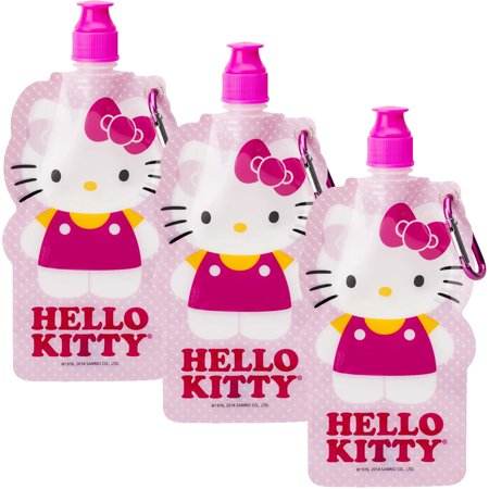 Hello Kitty (3 Pack) 16oz Zak Collapsible Kids Water Bottles With Clips Sanrio Reusable](Collapsible Water Bottles)