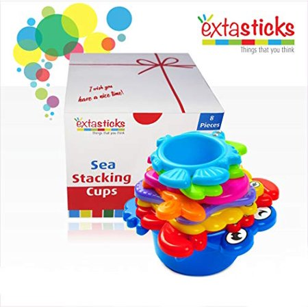Extasticks Baby Bath Toys Stacking Cups For Sand, Beach And Water For Toddlers And Kids 8 Cup Set To Play In Pool And Tub For Boys And Girls