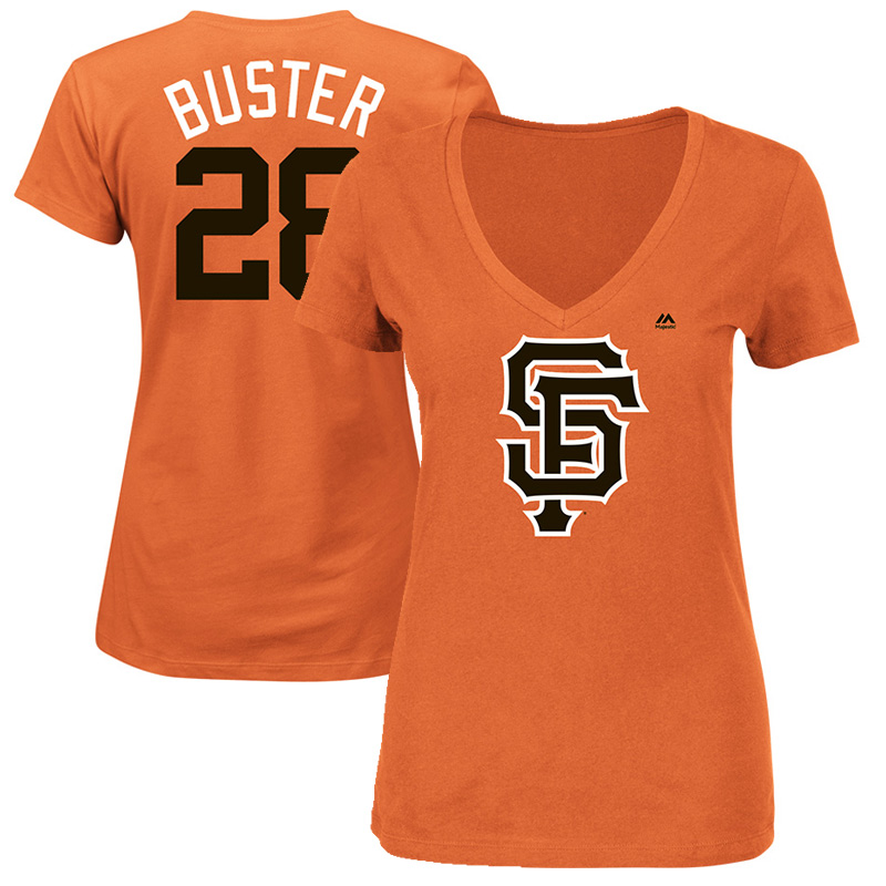 "Buster Posey ""Buster"" San Francisco Giants Majestic Women's 2017 Players Weekend Name & Number T-Shirt - Orange"