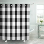PKNMT Buffalo Tartan Plaid Patterns Scottish Chequered Black and White Polyester Shower Curtain 60x72 inches