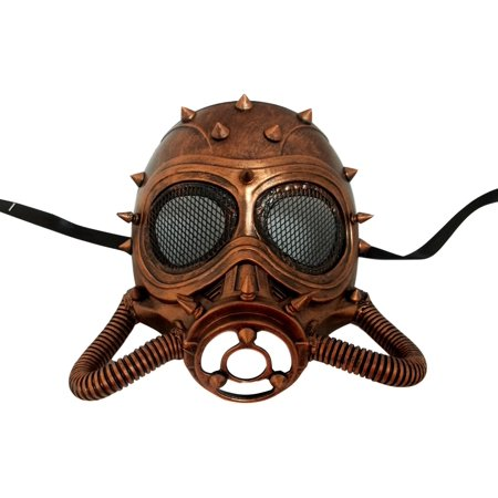 Chemical Gas Steampunk Skull Brushed Copper Halloween Mask