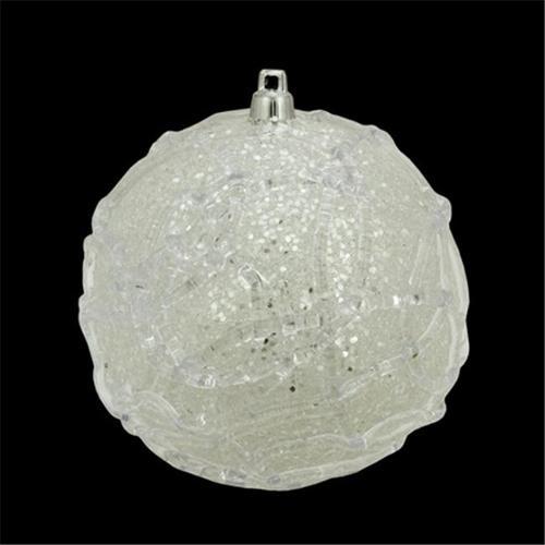 NorthLight 4 inch Pastel Dreams Winter White Glittered Swirl Design Christmas Ball Ornament
