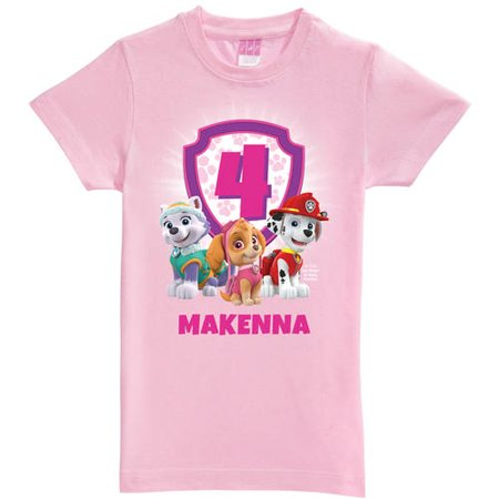 Personalized PAW Patrol Birthday Toddler Girls' Pink Fitted T ...