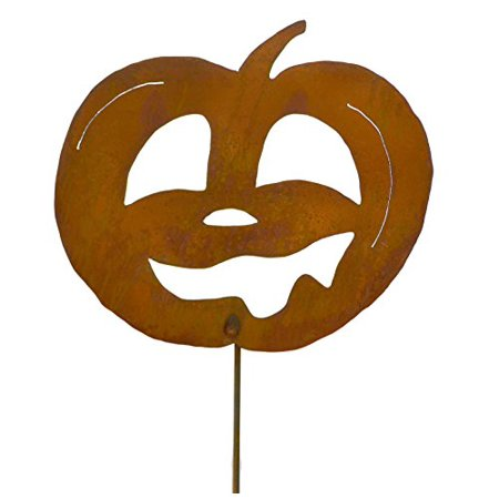 Laughing Jack-o-Lantern Rustic Metal Yard Stake. Whimsical Halloween Decoration Idea. Handcrafted by Oregardenworks in the USA!