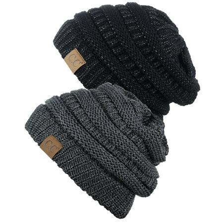 bc7eb8821829a9 C.C - C.C Trendy Warm Chunky Soft Stretch Cable Knit Beanie Skully, 2 Pack  Black Metallic/Dark Melange Gray Metallic - Walmart.com