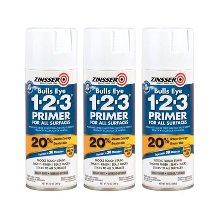 (3 Pack) Zinsser Bullseye 1 2 3 Primer All Surfaces, 13 Ounce Spray