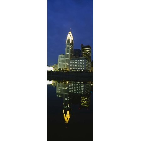 Buildings in a city lit up at night Scioto River Columbus Ohio USA Canvas Art - Panoramic Images (18 x 6)