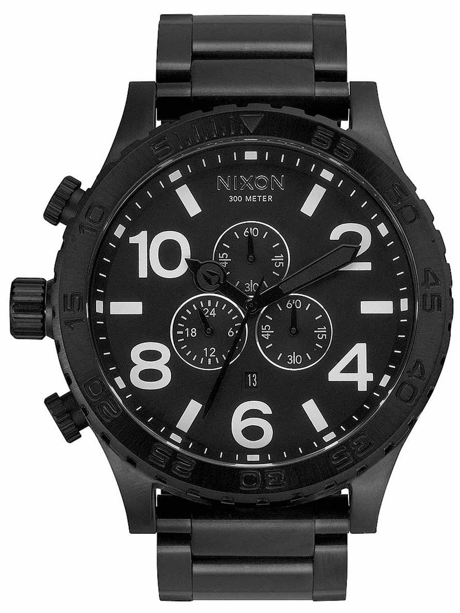 A083001 Men's 51-30 Chrono Black IP Steel Bracelet Black Dial Lefty Dive Watch