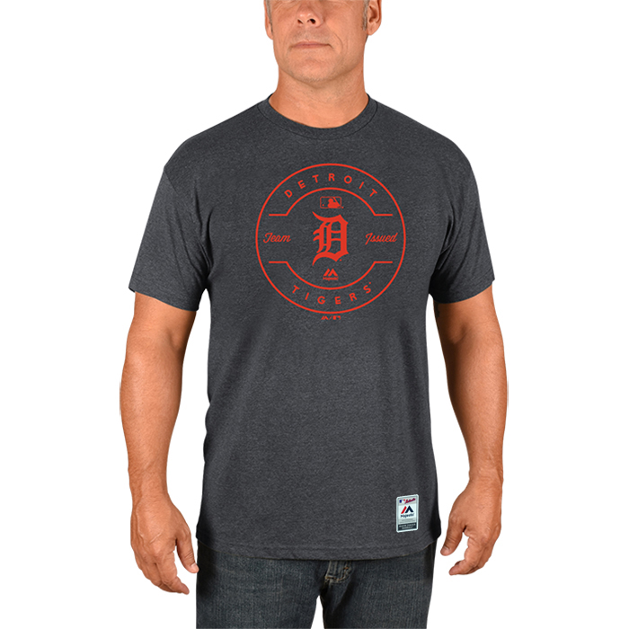 Detroit Tigers Majestic Authentic Collection Clubhouse Team Issue T-Shirt - Heathered Charcoal