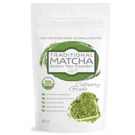 Matcha Green Tea Powder - Pure Matcha Traditional Green Tea Powder, Certified Organic, Culinary Grade, Antioxidants, Non-GMO, Vegan, Gluten and Sugar Free 12oz Bag