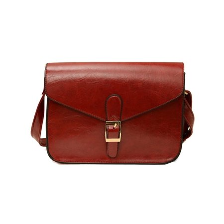 Crossbody Bag,Coofit Women's Retro Style Solid Color Faux Leather Ladies Elegant Vintage Casual Messenger Shoulder Handbag for Women Ladies (Best Leather Bags For Women)
