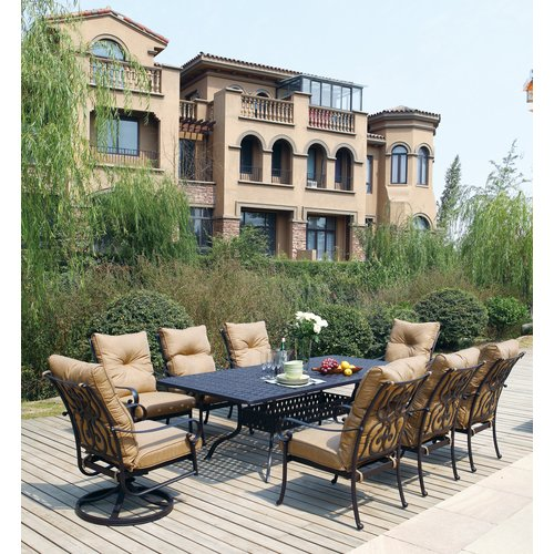 Darby Home Co Lanesville Traditional 9 Piece Dining Set with Cushions
